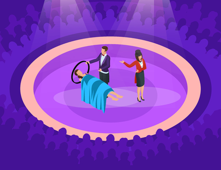 Illustration for Isometric magic show concept with illusion of woman levitation on scene vector illustration - Royalty Free Image