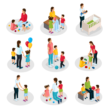 Illustration pour Isometric Nanny Work Set - image libre de droit