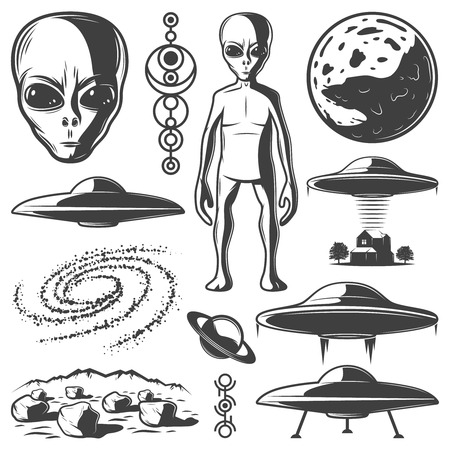 Illustration pour Vintage Monochrome UFO Elements Set - image libre de droit