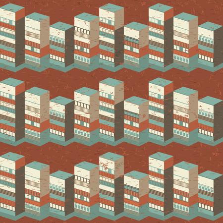 Ilustración de Architectural seamless pattern with 3d houses in warm colors on brown background vector illusration - Imagen libre de derechos