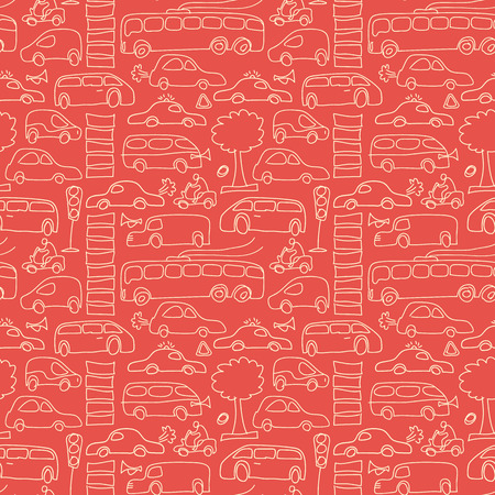 Ilustración de Seamless transport pattern with isolated light yellow cars and different transport on red fond vector illustration - Imagen libre de derechos