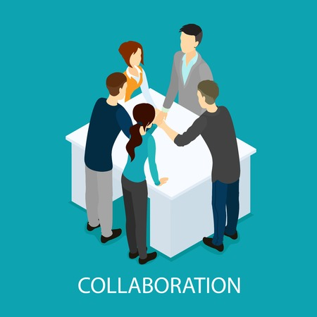 Illustrazione per Isometric business partnership and collaboration template with people making teamwork hands connection at table isolated vector illustration - Immagini Royalty Free