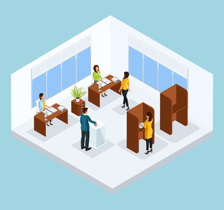 Illustration pour Isometric Voting Process Concept - image libre de droit