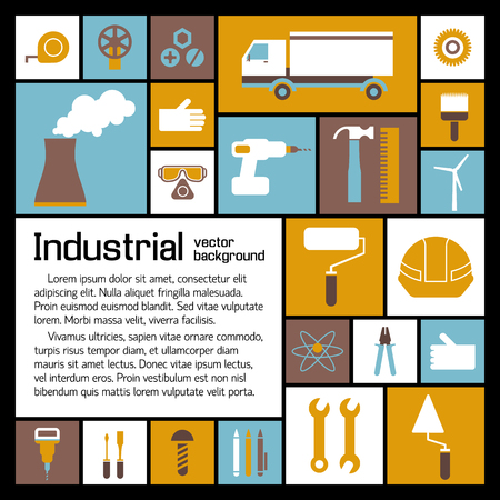 Illustration pour Industrial elements template with text and building production flat icons on colorful squares vector illustration - image libre de droit