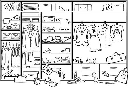 Ilustración de Doodle Family Wardrobe Mess Concept vector illustration. - Imagen libre de derechos