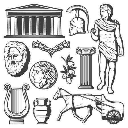 Illustration pour Vintage Ancient Greece Elements Set - image libre de droit
