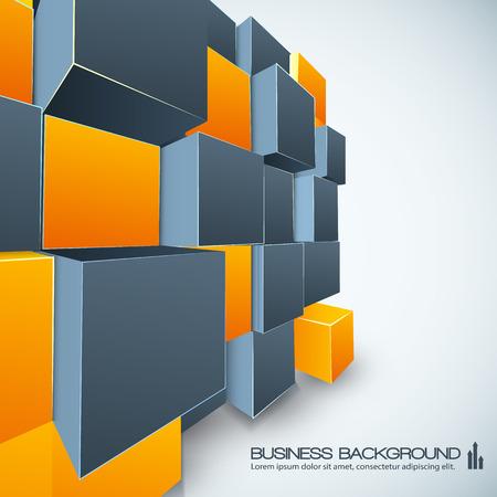 Illustration pour Poster Design With Orange And Grey Cubes - image libre de droit