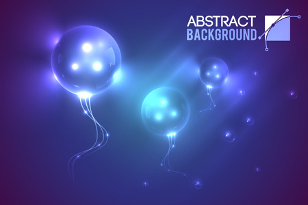 Ilustración de Abstract template with three eyed flying alien bubble shaped luminescent balloons in muddy gradient environment illustration. - Imagen libre de derechos