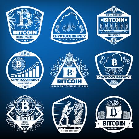 Illustration pour Vintage Bitcoin Currency Labels Set - image libre de droit