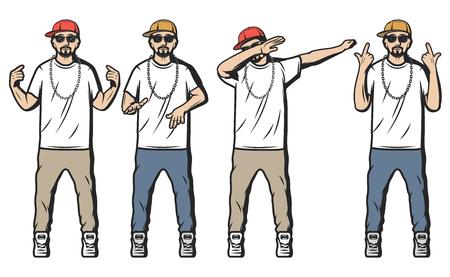Illustration pour Vintage Colored Rappers Set - image libre de droit