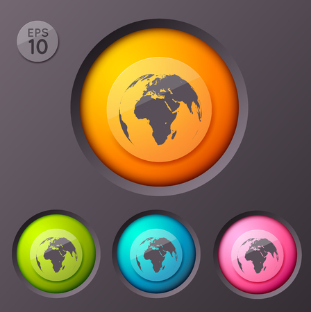 Illustration pour Worldwide Sign Buttons Background - image libre de droit
