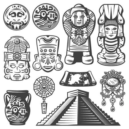 Illustration pour Vintage Monochrome Maya Elements Set - image libre de droit