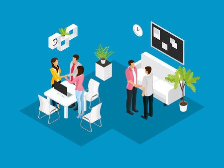 Illustration for Isometric Business Partnership Concept - Royalty Free Image