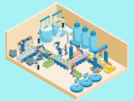 Ilustración de Isometric Dairy Plant Template on plain background. - Imagen libre de derechos