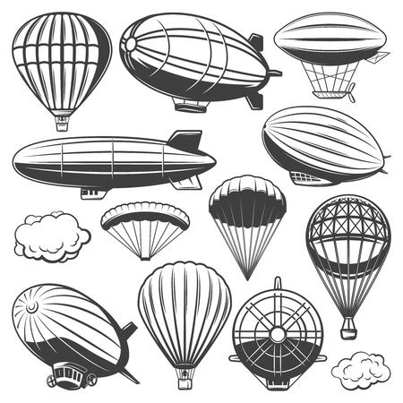 Illustration pour Vintage Airship Collection on plain background. - image libre de droit