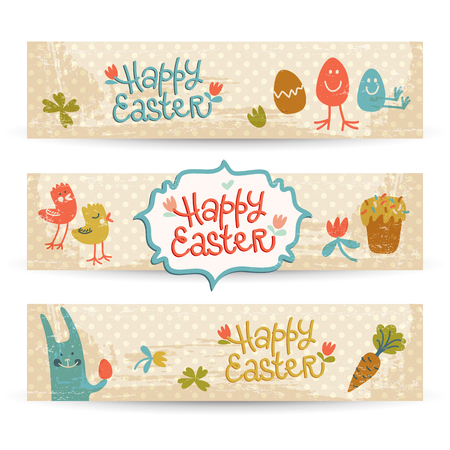 Illustration pour Happy Easter Doodle Banners Set - image libre de droit