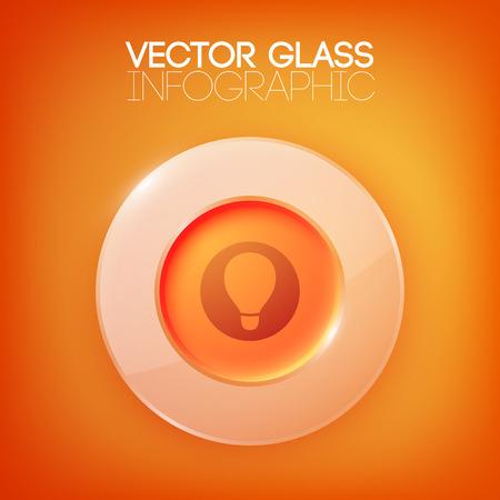 Illustration pour Abstract Orange Background With Glass Button - image libre de droit