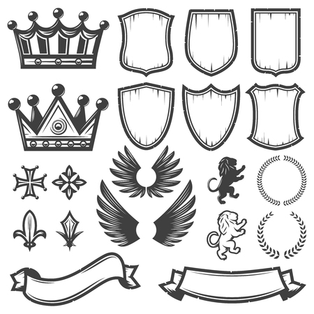 Illustration for Vintage Monochrome Heraldic Elements Collection - Royalty Free Image