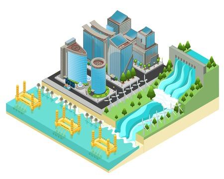 Illustration pour Isometric Eco City Template - image libre de droit