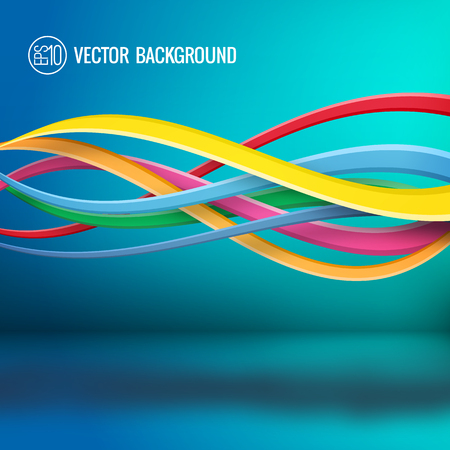 Ilustración de Abstract bright dynamic template with colorful wavy intersecting lines on turquoise background vector illustration - Imagen libre de derechos