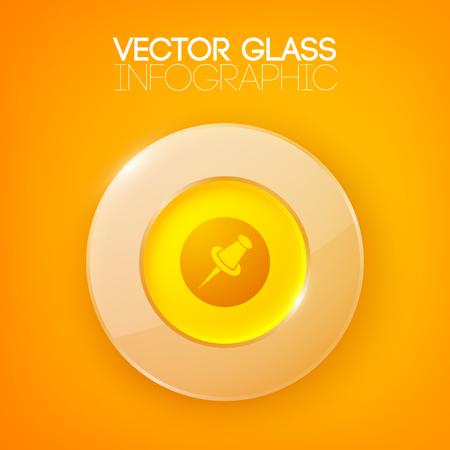 Illustration pour Shiny Orange Background With Circle Button - image libre de droit