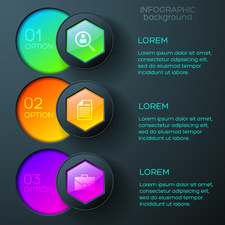 Ilustración de Abstract business infographics with icons colorful glossy hexagons and round buttons on dark background vector illustration - Imagen libre de derechos