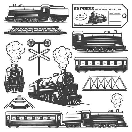 Illustration pour Vintage monochrome locomotive elements collection with train wagons railroad ticket traffic light isolated vector illustration - image libre de droit