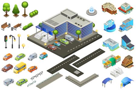 Illustration pour Isometric Supermarket Elements Set - image libre de droit