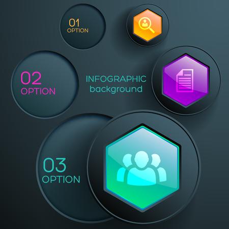 Ilustración de Business web infographic concept with icons three steps colorful hexagonal buttons and dark circles vector illustration - Imagen libre de derechos