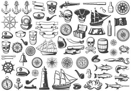 Illustration pour Vintage monochrome marine icons collection illustration. - image libre de droit