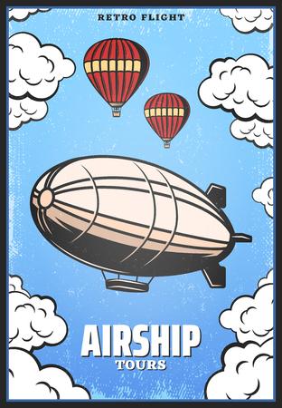 Illustration pour Vintage Colored Airship Poster - image libre de droit