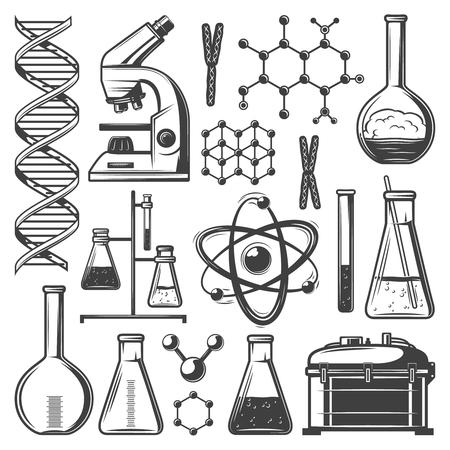 Illustration pour Vintage Laboratory Research Elements Set - image libre de droit