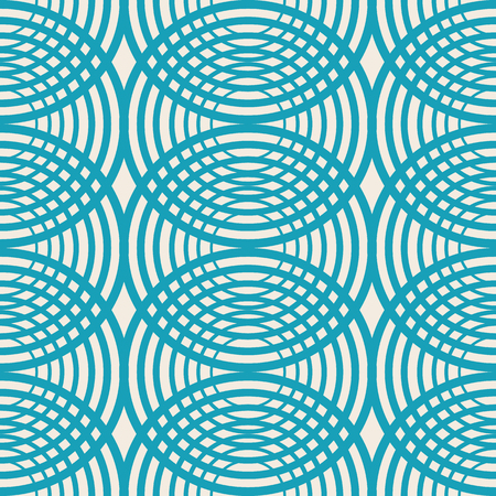 Illustration pour Decorative kaleidoscope seamless pattern with blue rounds as streaks on the water and symmetric geometric elements vector illustration - image libre de droit