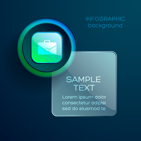 Illustration pour Infographic conceptual background with square text box available for editing and circle icon with briefcase pictogram symbol vector illustration - image libre de droit