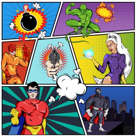 Ilustración de Superheroes Comic Page Template - Imagen libre de derechos