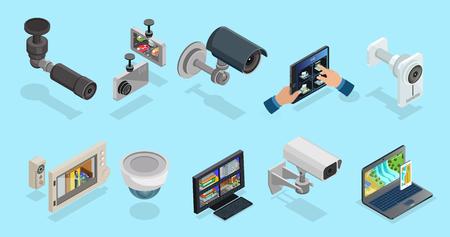 Illustration pour Isometric CCTV Elements Collection - image libre de droit