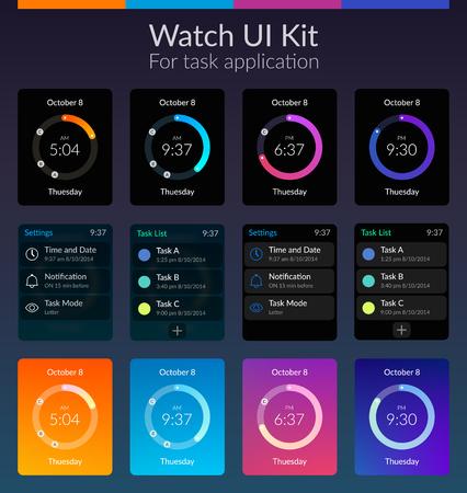 Illustration pour Mobile watch ui kit design concept with colorful backgrounds flat isolated vector illustration. - image libre de droit