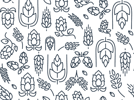 Illustration for Twigs hop seamless pattern with repeating images of malt and leaves hand drawing on the white background vector illustration - Royalty Free Image