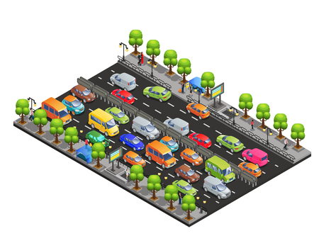 Illustration pour Isometric traffic jam concept with different cars on road trees and walking people isolated vector illustration - image libre de droit