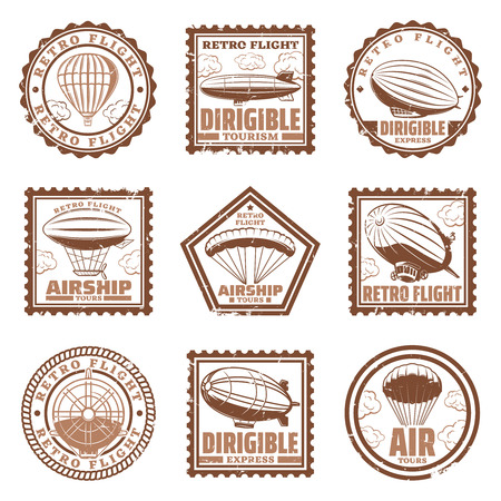 Illustration pour Vintage airship stamps set with blimps or zeppelins hot air balloons propeller isolated vector illustration - image libre de droit