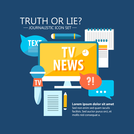 Illustration pour Colorful mass media infographics with reporter and journalistic elements in flat style on blue background vector illustration - image libre de droit