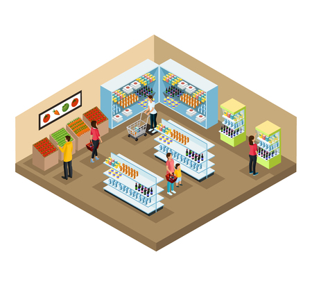 Illustration pour Isometric supermarket interior concept with people choosing different products in grocery shop vector illustration - image libre de droit