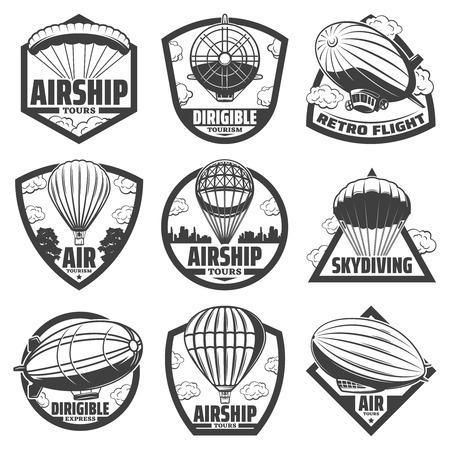 Illustration pour Vintage monochrome airship labels set with inscriptions set - image libre de droit