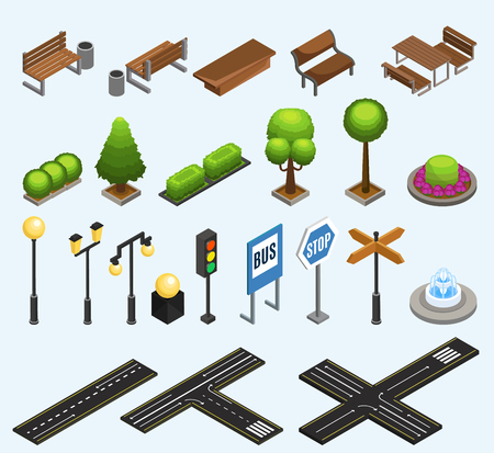 Illustrazione per Isometric city elements collection with benches trash bins plants poles lanterns traffic light fountain road signs isolated vector illustration - Immagini Royalty Free