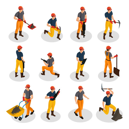 Illustrazione per Isometric mining characters set wearing uniform and working with mining equipment and manual labor tools isolated vector illustration - Immagini Royalty Free