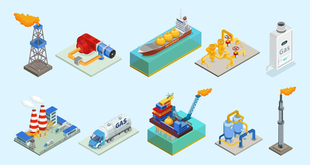 Illustration pour Isometric natural gas industry elements set with rig truck tanker burner pipelines refinery plant offshore platform column isolated vector illustration - image libre de droit