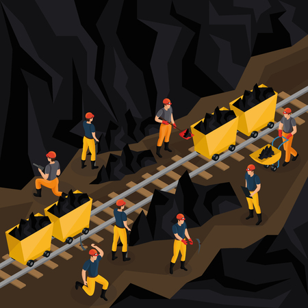 Illustration pour Isometric coal industry concept with miners in uniform working in mine and using manual labour tools vector illustration - image libre de droit