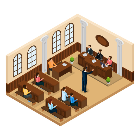 Illustration pour Isometric judicial system concept with lawyer defending his client in courtroom isolated vector illustration - image libre de droit