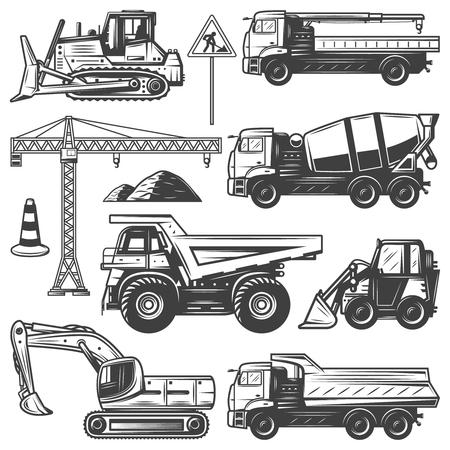 Illustration pour Vintage construction machines set with bulldozers excavator crane building concrete mixer and dump trucks isolated vector illustration - image libre de droit