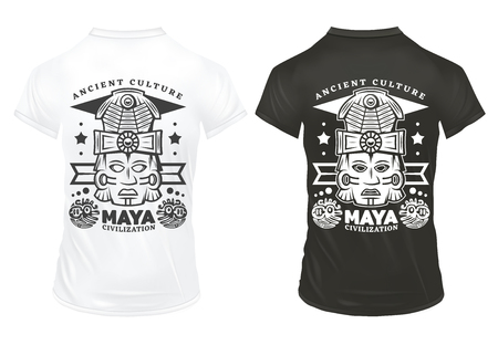 Illustration for Vintage maya civilization prints template with inscriptions and tribal ceremonial masks on black and white shirts isolated vector illustration - Royalty Free Image